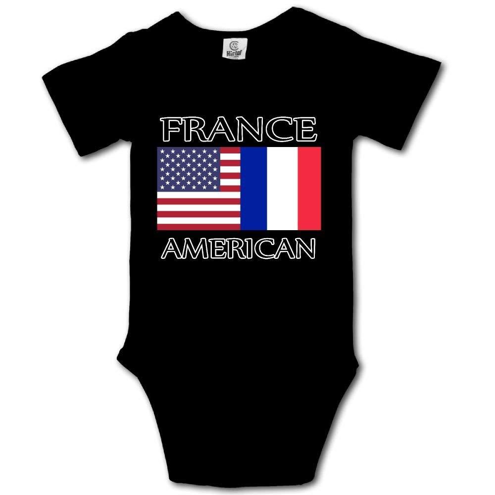 HFJFJSZ France American Flag Short Sleeve Baby Bodysuit Onesies