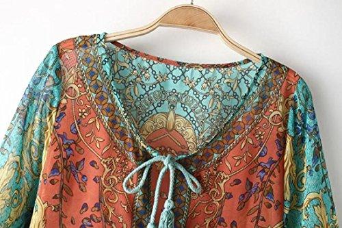 Ineternet Femme Manches 3/4 en Mousseline de soie Mini Robe