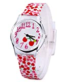 Kids Children Girls Women Teen Watch Time Teacher Watch with Cherry Design