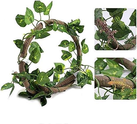 Vides de reptiles, 3.28 pies Reptil artificial Escalada rama con ventosas Selva flexible Rota con 6.89 pies Vid hábitat largo Decoración para gecko ...