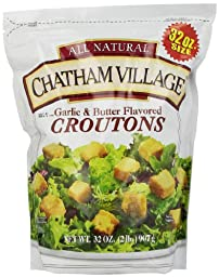 Chatham Village Croutons, Garlic and Butter, 32 Ounce