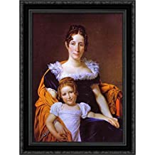 Portrait of the Countess Vilain XIIII and Her Daughter 24x18 Black Ornate Wood Framed Canvas Art by Jacques-Louis David