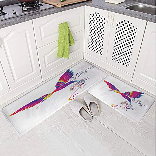 2 Piece Non-Slip Kitchen Mat Rug Set Doormat 3D Print,Hummingbird Curvy Tail Ornament Stylized,Bedroom Living Room Coffee Table Household Skin Care Carpet Window Mat,