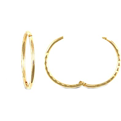 Jewelco London Solid 9ct Yellow Gold Diamond Cut Hinged Sleeper 1mm Hoop Earrings 16mm FUGOY4o