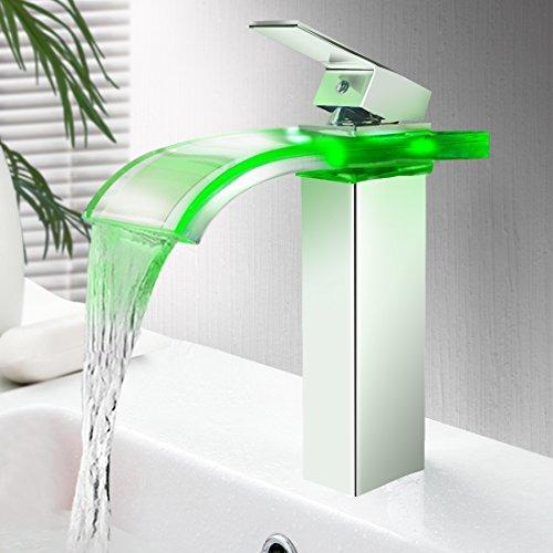 Triple Tree Faucet Deck Mount Water Power LED Kitchen Faucet Light  Temperature Sensor Bathroom Sink Faucet