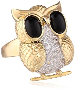 """18k Gold Over Sterling Silver Black Onyx and Created White Sapphire """"Owl"""" Ring, Size 7"""