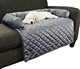"Cheap Furniture Protector Pet Cover for Dogs and Cats with Shredded Memory Foam filled 3-Sided Bolster Soft Plush Fabric by PETMAKER – 35"" x 35"" Gray"