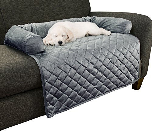 "Furniture Protector Pet Cover for Dogs and Cats with Shredded Memory Foam filled 3-Sided Bolster Soft Plush Fabric by PETMAKER – 35"" x 35"" Gray"