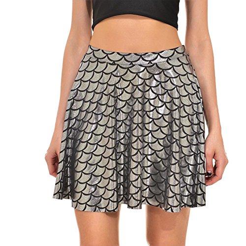 dee27cb941 Escalas La Cortas Fiesta Faldas Minifalda Plisada Mujer De Falda Moollyfox  Plateado Pq1xtUB5wn