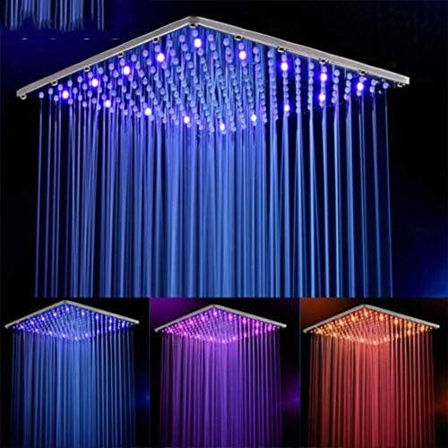 SISHUINIANHUA 16 Zoll 40cm * 40cm Wasserbetriebener Regen führte Duschkopf ohne Dusche 3 Farben