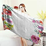 Anhounine Washable Large Bath Towel Watercolor Flower Decor Collection Floral Frame with Summer Flowers Roses Natural Picture 100% microfiber 55''x27.5'' Pink Navy Blue Purple White