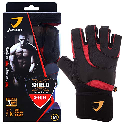 Kuron Store X-Fuel Full Palm Wrist Wrap Grip Protection Weight Training Leather Gloves
