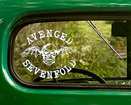 2 avenged sevenfold decal band stickers white die cut for window car jeep 4x4 truck laptop