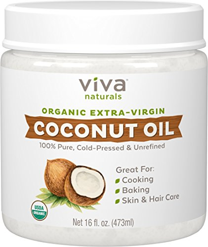 Viva Naturals Organic Extra Virgin Coconut Oil, 16 Ounce (Pure Coconut Oil For Hair And Skin)