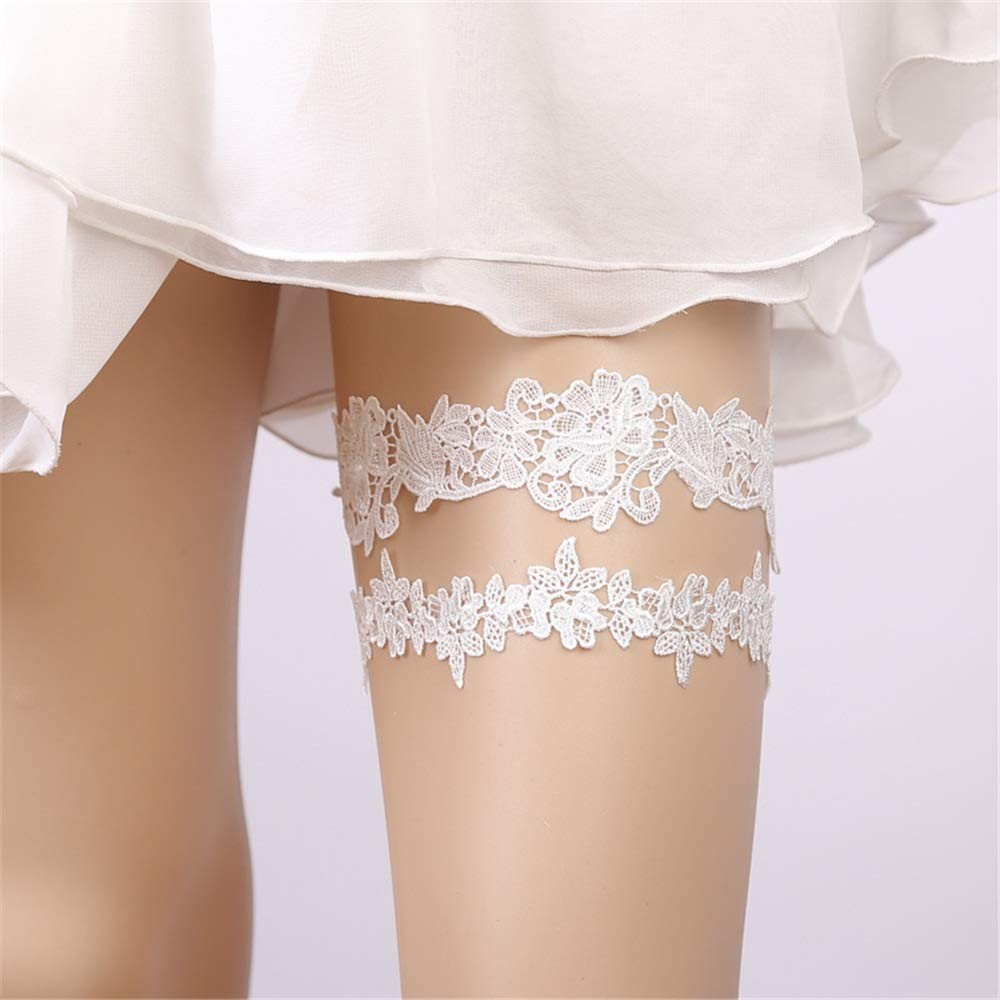 Wedding Festival European and American Bridal Garter White Lace Garter Strap Ring 1 Piece Set (2 Pieces). Lace Optional (Color : Blue) Opbsite