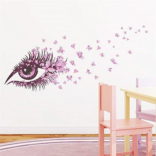 Romote della decorazione della casa Soggiorno Camera da letto Decor farfalla decorativa occhio ragazza Wall Sticker fai da te creativo murale parete decalcomanie rimovibile Rosa