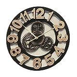 Reloj de pared redondo antiguo hecho a mano clásico diseño de Gear 3d, 8--9