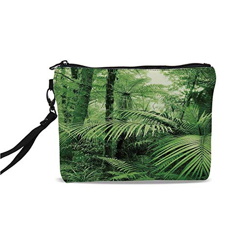 Rainforest Decorations Simple Cosmetic Bag,Palm Trees and Exotic Plants in Tropical Jungle Wild Nature Zen Theme Illustration for Women,9