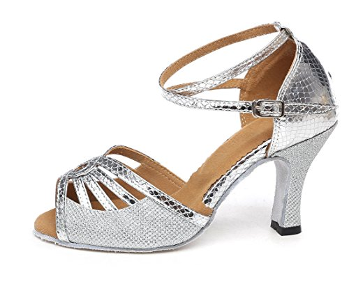 TDA Modern Shoes Salsa Toe Latin Glitter Silver Ankle Tango Dance Womens Ballroom Strap Peep SqfKrcRwSF