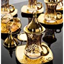 Premium Gold plated Gilded Tea Set for 6 - Made in Turkey - 24 pieced set, Gilded-Gold