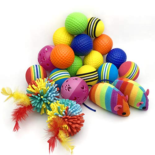 SisterAling 20 Pack Assorted Activity Chase Interactive Throwing Cat Toy Balls,Feather Silk,Yarn Ball,Crinkle Balls, Jingle Bell,Rainbow Foam Ball, Rainbow Cloth Mouse,Puppy, Kitty