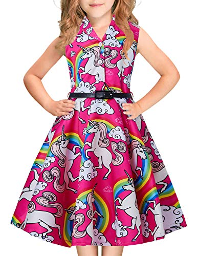 Big Girls Princess Dress Red Rainbow Unicorns Print Horse Graphics 1940s 1960s 80s Teens Junior Sleeveless Ruffles Pleated Dresses with Belt Casual Custome for Prom Dressing Up Party 13-14 Years Old -