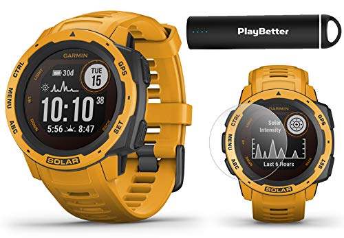 Garmin Instinct Solar (Sunburst) Power Bundle | with PlayBetter HD Screen Protectors & Portable Charger | Rugged, Heart Rate | 2020 Model, Solar Charging | Ultimate Outdoor GPS Watch