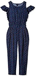 Tommy Hilfiger Big Girls' Dot Printed Jumpsuit, Flag Blue, Large