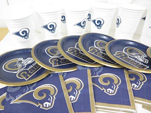 Los Angeles Rams, 48 Piece Snack Party Set. Includes 16 Plates 7