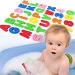 osierr6 Letters and Numbers Bath Toys, 36pcs Bath Foam Letters & Numbers with Mesh Bath Toys Organizer