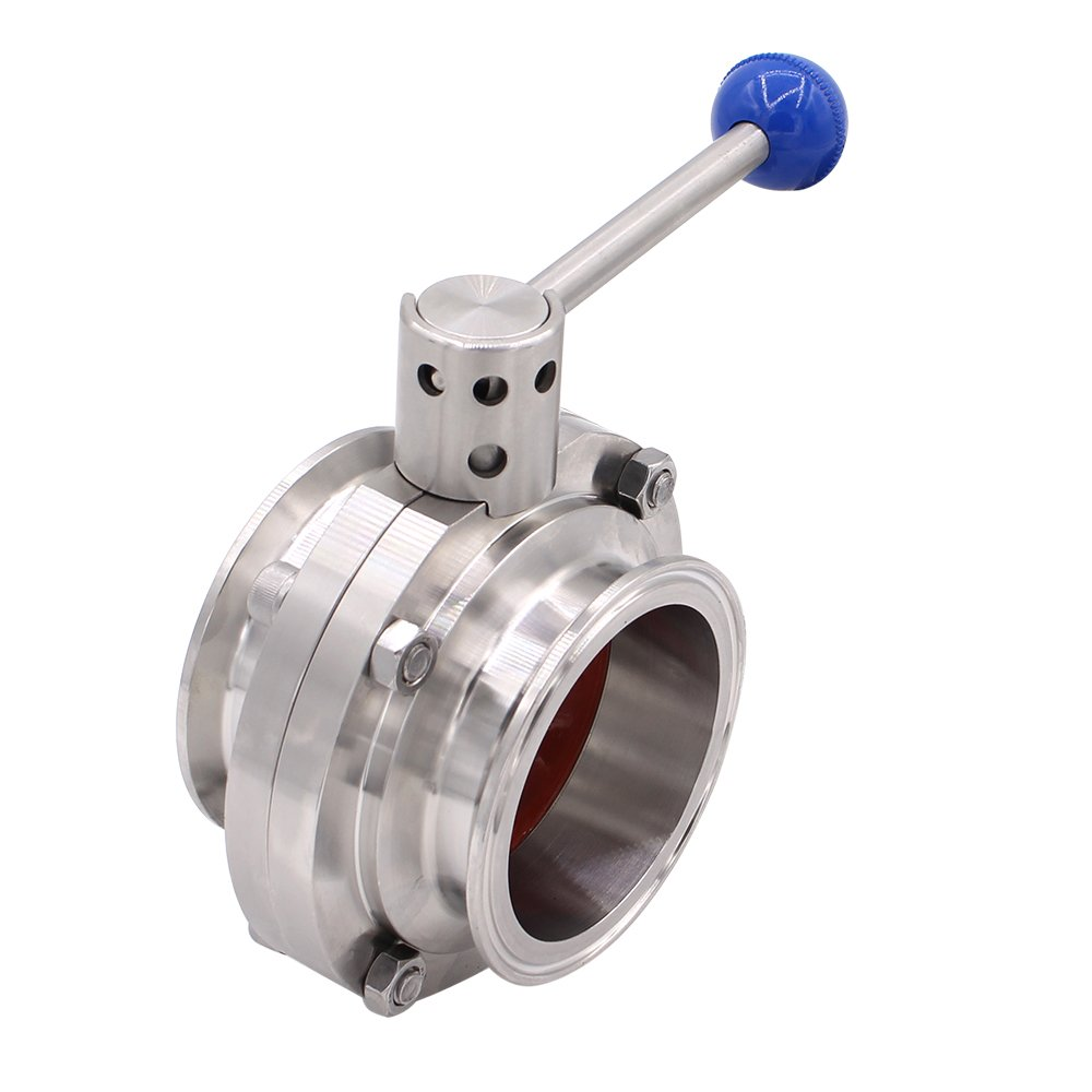 2.5 Tube OD DERNORD Sanitary Butterfly Valve with Pull Handle Stainless Steel 304 Tri Clamp Clover