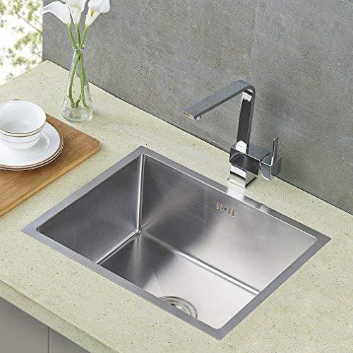 Auralum® 50X40X22CM Fregadero De Cocina De Acero Inoxidable con Sistema De Drenaje Fregadero De Cocina Single Bowl con 2 Orificios 5 Capas para ...