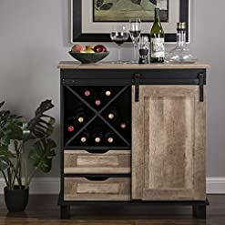 """Home Bar Cabinetry Glitzhome Wood Rustic Wine Cabinet 2-Sections Bar Cabinet with Wine Storage 31.5""""L Sideboard Table with Drawers Wood… home bar cabinetry"""