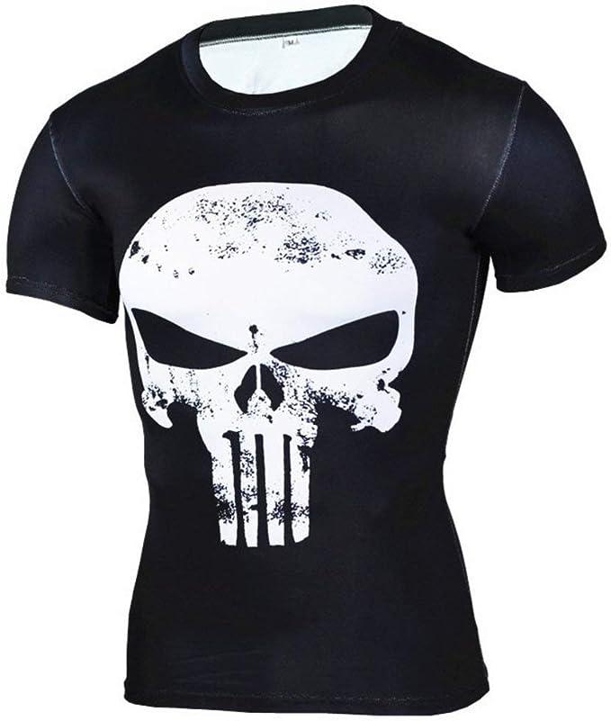 PKAWAY Fashion Punisher Skull White Compression Shirt Short Sleeve