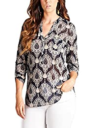 ViiViiKay Women's Plus Size Printed Henley V Necked 3/4 Sleeved Solid Blouse Top
