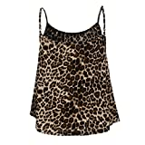 Lazzboy Camis Top Women Swing Pleated Sleeveless Straps Vest Tank Size 8-14 Ladies Slouch Blouse,Many Styles(M(10),Brown-Leopard)