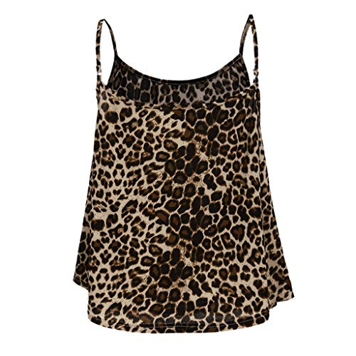 Tantisy ♣↭♣ Camisole Tank Top ✿ Fashion Womens Sling Tank Leopard Printed Sleeveless O-Neck Blouse Soft Comfortable Top Brown by Tantisy ♣↭♣ (Image #2)