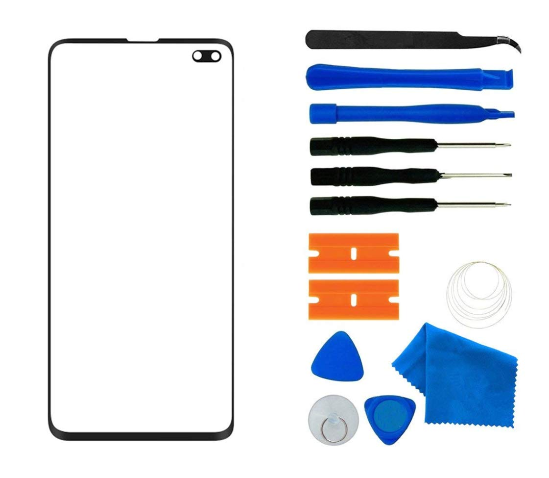 Original Galaxy S10+ Screen Replacement, Front Outer Lens Glass Screen Replacement Repair Kit for Samsung Galaxy S10 Plus G9750 Series (Galaxy S10+ 6.4'- Black) by ABUSVEX