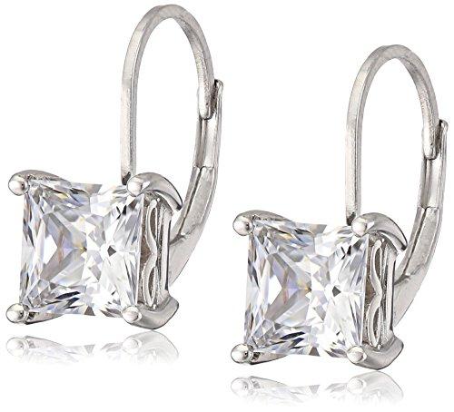Plated Sterling Silver Princess-Cut Swarovski Zirconia Leverback Earrings (5 cttw)