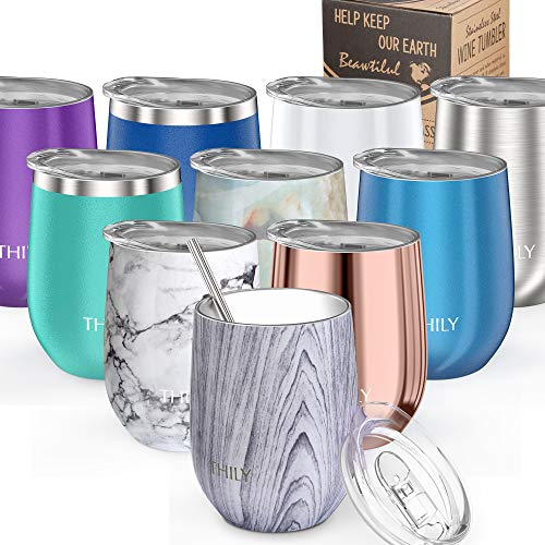 (Wine Tumbler Vacuum Insulated Stemless - THILY 12 oz Triple-Insulated Stainless Steel Wine Glasses with Lid and Straw, Keep Cold or Hot for Coffee, Cocktails, Christmas Birthday Gift, Wood Grain)