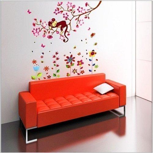 Com - Set sticker da muro per bambini, fiori colorati + scimmia su albero con fiori e farfalle, colori vari Walplus 9K-08VU-BCTB