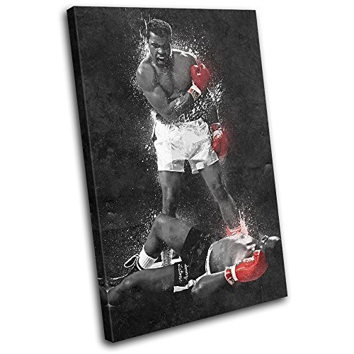 Bold Bloc Design - Muhammad Ali Liston Grunge Boxing Sports 90x60cm SINGLE Canvas Art Print Box Framed Picture Wall Hanging - Hand Made In The UK - Framed And Ready To Hang