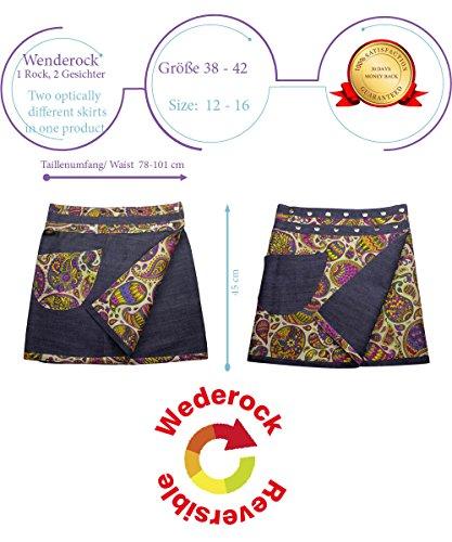 Sunsa Damen Rock Jeansrock Sommerrock Wickelrock Minirock Wenderock, 2 in 1, verstellbare Größe 15634