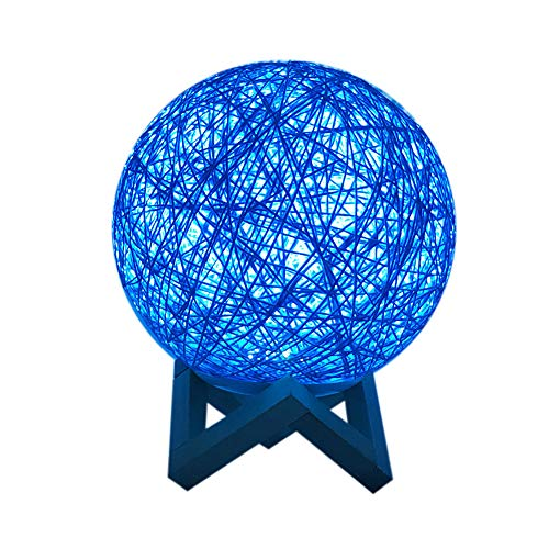 Vacally 20CM 3D LED Lights Colorful Rattan Moon Night Light Moonlight USB Charging Table Desk Moon Lamp Creative Home Bedroom Decorations