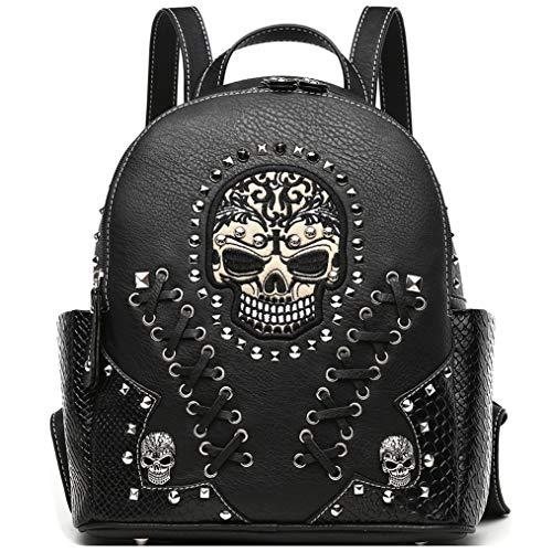 Sugar Skull Punk Art Rivet Studded Biker Purse Women Fashion Backpack Bookbag Python Daypack Shoulder Bag (Black) ()