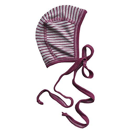 Silk Cap Wool (Newborn Baby Bonnet Hat with Ties, Organic Merino Wool & Silk Clothes Essentials (62-68cm/3-6months, Maroon))