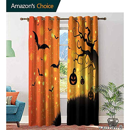 Big datastore Halloween Curtains for bedroomMagical Fantastic Evil Night Icons Swirled Branches Haunted Forest Hill Blackout Bedroom Living Room W96 x L108 Orange Yellow Black