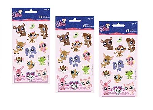 Littlest PetShop Plastic Puff Sticker Sheets - 3 Sheets 39 -