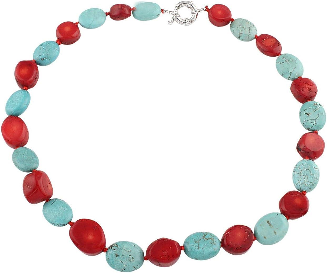 TreasureBay rojo Coral y azul turquesa Gemstone collar 46cm–presentado en una bonita caja de regalo