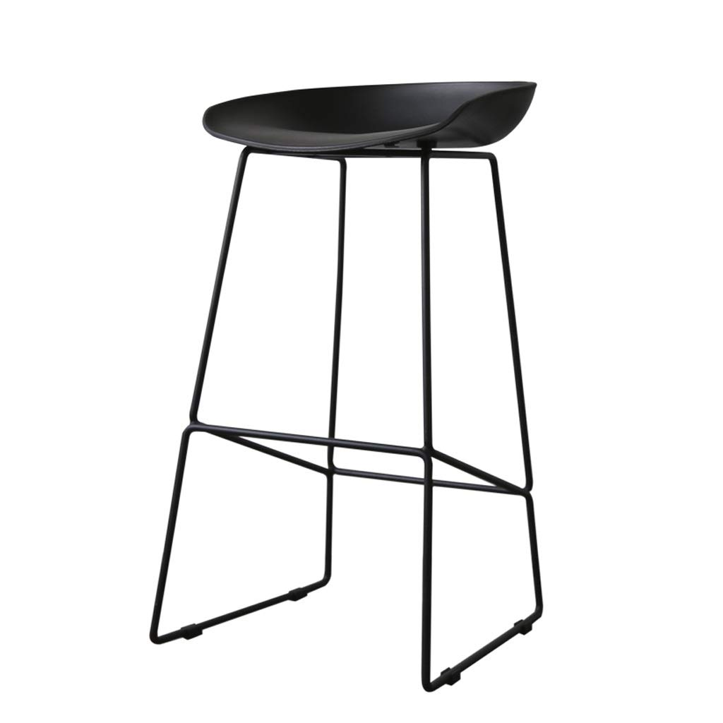 Black 454684cm Bar Stool Metal Breakfast High Chair Resin Seat Counter Stool Backrest Footrest High Stool Bar Stool Bar Stool (color   Black, Size   45  46  84cm)